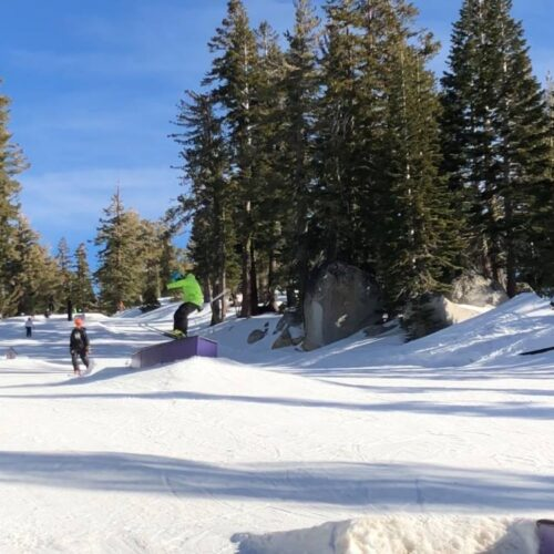 Skier hitting a box at Sierra at Tahoe